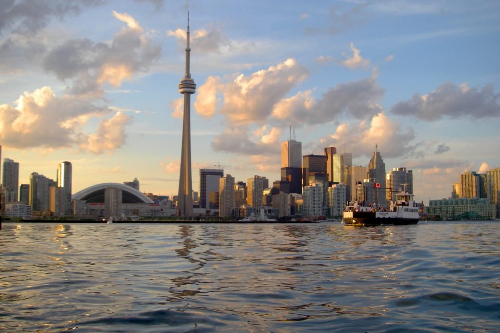 A cityscape of Toronto as seen from Lake Ontario