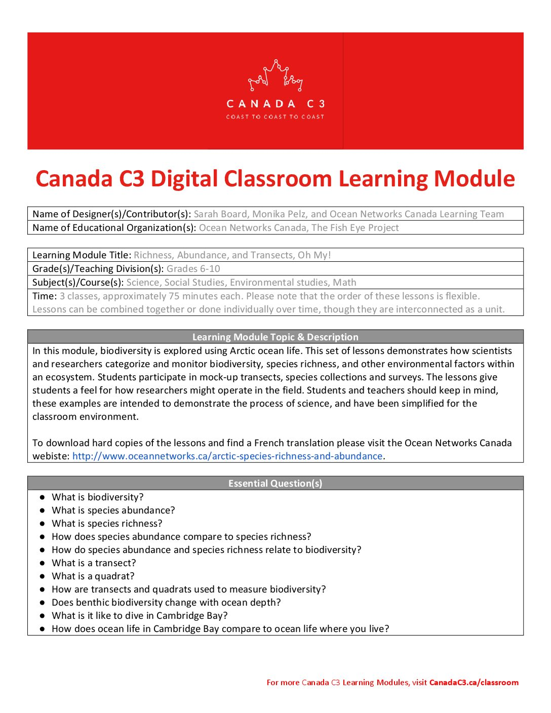 ONC and Fish Eye Project – Canada C3 Learning Module – Richness, Abundance, and Transects, Oh My- final